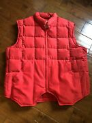 Orvis Mens Sz Xl Goose Down Puffer Vest Quilted Square Pockets Red Full Zip