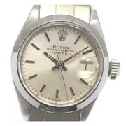 Rolex Oyster Perpetual Date 6916 Cal.2030 Automatic Ladies Silver Ss [e0531]