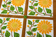 Sunflower Hand Applique Finished Wall Quilt - Couch Quilt - Spring Colors