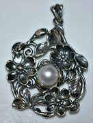 Pz Paz Sterling Silver And Freshwater Pearl Floral Leaf Pendant, Israel 925