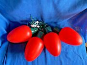 4 Vintage Blow Mold Christmas Bulb C7 Really Big Lights 13andrdquo Red Yard Prop Lot