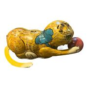 Vintage Tin Litho Marx Rollover Yellow Cat Chasing Wood Red Ball Windup Toy