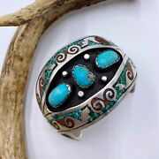 Vintage Sterling Silver Charlie Singer Navajo Turquoise Coral Chip Inlay Cuff