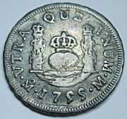 1755 Mexico Silver 1 Reales Genuine Antique 1700and039s Spanish Colonial Pirate Coin