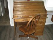 Small Antique Solid Oak Roll Top Desk And Oak Chair.