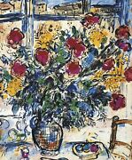 Marc Shagall Bouquet By The Window Plate Signed Lithograph Limited Of 750