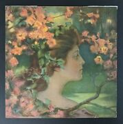 Antique Charles Allan Gilbert Print Lady With Blossoms