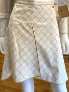8690 Nwt 2015 Leather Diamond 15p Long Suit Skirt Only 34 36 2 4 Gold S