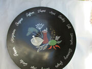 Couroc Of Monterey Herb Salad Bowl Inlay Rare Vintage Large 15 3/8 Round Xwall