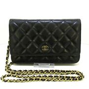 Auth Matelasse A33814 Black Caviar Skin Other Style Wallet