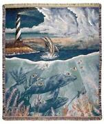 Simply Home Dolphins Lighthouse Tapestry Throw Blanket 50 X 60