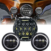 7 Led Headlight And 2x Passing Lights For Harley Touring Road King Street Glide