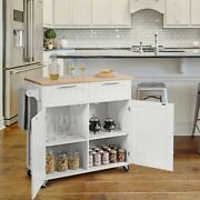 Heavy Duty Rolling Kitchen Cart With Large Rubber Wood Top 2 Pull Out Drawer New