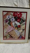 Vtg Signed Antique Painting Picture Watercolor Wine Kitchen Home Wall Old Decor