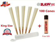 Authentic Raw Classic King Size Pre-rolled Cones 100 Pack And Clipper Lighter Free