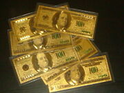 Lot Of 6 Awesome Collectibles One Hundred Gold Dollar Bill 100 Great Gift.