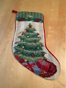 Lands End Wool Needlepoint Tree Christmas 17 Stocking Tom Personalized