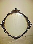 Spectacular Antique Bronzed Large Ornate Beveled Round Mirror A Real Standout