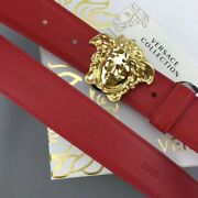 Versace Gold Buckle Red Leather Belt Italy 115cm 40 To 42 Inch