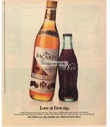 1983 Bacardi Rum And Coke Coca Cola Love At First Sip Vintage Ad Man Cave