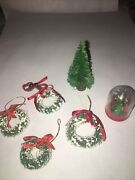 Vintage Miniature Doll House Decorated Christmas Trees And Wreaths