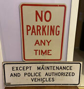 Maintenance Police Authorized Vehicles No Parking Any Time Vintage Sign Combo