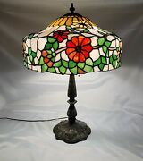 Antique Arts And Crafts Chicago Mosaic Co. Leaded Slag Glass Table Lamp C.1910