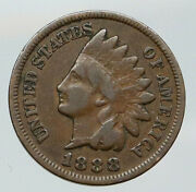 1888 United States Us Vintage Native Old Antique Indian Head Cent Coin I92072