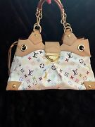 💯 Authentic Louis Vuitton Ursula In White Multi Color With Dust Cover