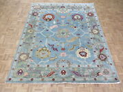 7and03911 X 9and0399 Hand Knotted Light Blue Colorful Oushak Oriental Rug G10593
