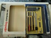 Rotring Rapidograph Pen Set Of Three Pens And Compass New