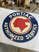 Vintage Pontiac Authorized Service Metal Sign 26 Seay Marketing One Sided Sign