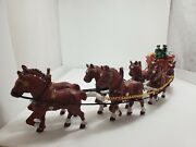 Vintage 8 Clydesdale Horse Team, Wagon, 2 Drivers, 1 Dog, Beer Barrels Cast Iron