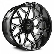 4 New 24x12 Axe Off Road Nemesis Black Milled Wheels 8x6.5 Dodge Chevy 8x165.1