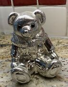 Vintage Silver Plated Polo Bear Coin Bank Paperweight Collectible