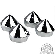 Chrome Bullet Knock Off Spinner Caps For Lowrider Wire Wheels, Set Of 4