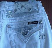 Miss Me Signature Skinny White Denim Jeans Pants 27 Sequins Silver Embroidered