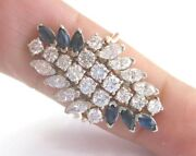 Blue Sapphire And Diamond Cluster Ring Solid Yellow Gold G/vs2 14kt Sizeable