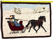 Vintage Handmade Spun Dyed Wool Rug Hooked Winter Sleigh Ride 31andrdquo X 22.5andrdquo