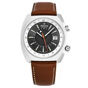 Alpina Mens And039startimer Pilot Gmt Grey Dial Brown Leather Automatic Al-555dgs4h6