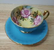 Aynsley England Teacup And Saucer Set Turquoise Floral Gold Trim A2