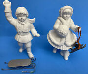 Department 56 Winter Silhouette Shiny Skates And A Brand New Sled White Porcelain