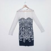Thurley Size 10 Be Mine Valentine Black White Lace Long Sleeve Pencil Dress