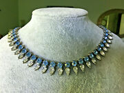 New Dannijo Blue And Clear Crystal Choker To Collar Necklace 13 Adj To 16