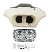 Unpainted Inner Outer Fairing Chrome Dual Led Headlight Fit For Road Glide 98-13