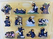 Rare Bearfoots By Jeff Fleming 12 Days Of Christmas Ornament Set Signed Big Sky