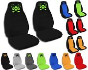Front Set Car Seat Covers Fits Chevy S10 Trucks 94-04 Bucket Seats Skull Tattoo