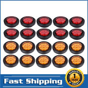 2inch 9 Led Round Clearance Side Marker Lights X20 Truck Trailer Amber And Red