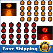 10pcs 2inch 9 Led Round Clearance Side Marker Lights Truck Trailer Amber And Red