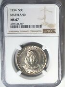 1934 Maryland Commemorative Silver Half Dollar Ngc Ms67 Nice Detail Toned